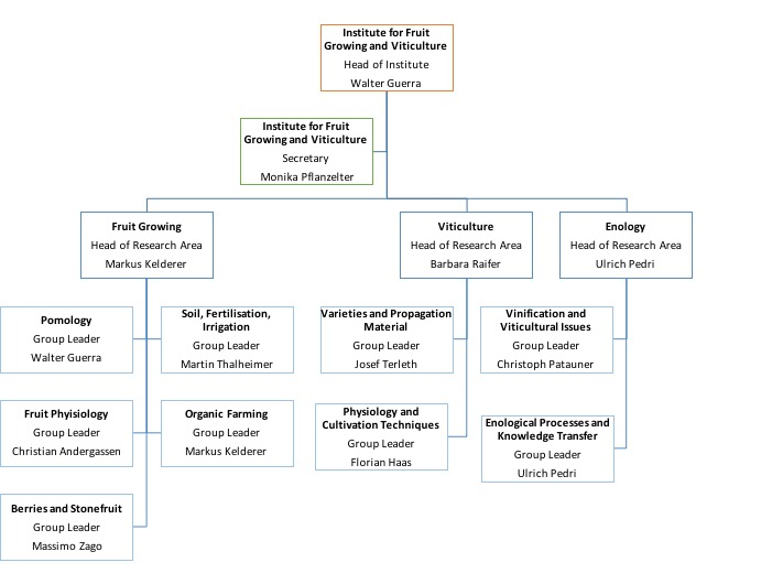 Organization chart Insitute for Fruit Growing and Viticulture